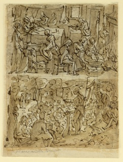 "Four scenes.  Recto top: The room is crowded by helpers and visitors.  The bed of St. Elizabeth is at left in the back.  A woman brings her a bowl of soup.  Zacharias sits at right at a table and writes.  In the right foreground is the bathing scene. A woman dries a diaper at the fireplace. ""-3"" is written in the canopy of the bed.  Bottom: St. John stands in the right centre addressing the crowd at his feet.  Christ approaches in the left background.  Verso top: St. John standing at left empties a bowl over the head of Christ who stands in the stream.  Bottom:  Elizabeth greets the Virgin.  Five women and a girl are present. ""2"", is written in the upper center."