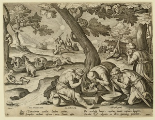 "Horizontal rectangle. In the foreground, right, a group of men, washing their eyes, using the basins. In the middle ground, a number of apes imitates them. At lower left: ""Ioan. Stradanus invent.""; at left center: ""Ioan. Collaert Sculp.""; at lower right: ""Phls Galle excud."" Below: ""QUO VENATORES OCULUS..."""