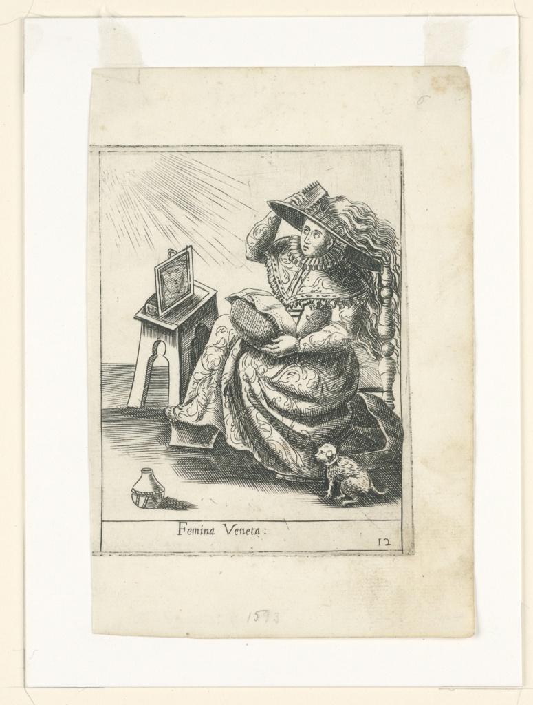 Print, Plate 12, Femina Veneta (Venetian Woman), Diversarum Nationum Ornatus Cum Suis Iconibus