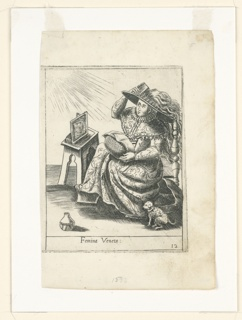 A woman is depicted in what appears to be Venetian commedia dell'arte costume, wearing a long dress with an elaborate collar and a pattern incorporating swirling forms. She is shown combing her long wavy hair, below which appears to be a large, round hat. She faces a square stool on the left with a framed picture showing a face on top and holds a round object in her lap. A dog sits on the floor beneath her, and an object that looks like a vase or some other kind of vessel appears at left. Rays of light are emanating from the top left corner; the woman faces left and looks upwards towards them.