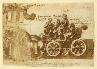 "Chariot drawn by three horses. Four women seated in it. One on sort of a throne. Written above her, ""Grese."" Four flying angels precede it, also an abbott and cardinal. Above: ""Quattro."""