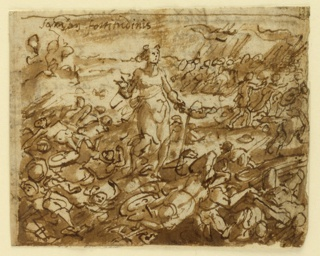 Horizontal rectangle. Female figure walking among the dead soldiers in a battle field. Upper right corner inscribed: FORTITUDINIS