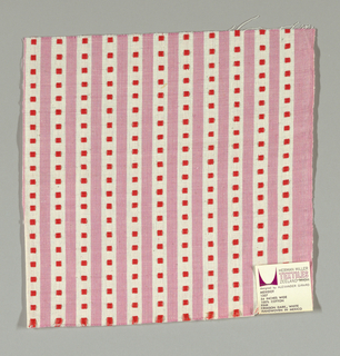 Pink and white vertical stripes with crimson squares. Square patterning is formed by supplementary warp floats.
