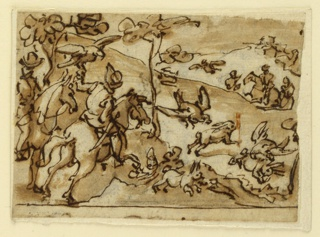 Horizontal rectangle. Two horsemen come from the left foreground. One of them with a falcon standing on his left hand. Others come from the right back. Hares and falcons are all over. The setting is a hill. Framing line at the bottom.