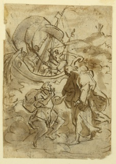 Vertical rectangle. Verso: Peter holds the right hand of the Lord with his left hand. A boat is in the back. A figure is shown, standing upon a hill in the right background. Recto, horizontally: The two kettles are shown from the side with the spout. The handles stand upright. The metal urn is drawn in a small scale, below in the interval of the upper designs.