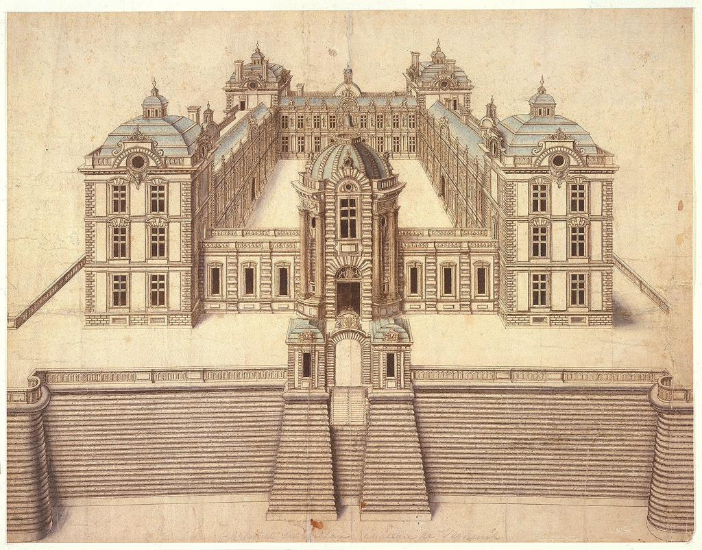 Frontal view of a two-storied architectural structure, with square corner pavilions an additional story in height, enclosing a court. The side nearest the viewer is a single story in height, and is broken by a circular pavilion, surmounted by a dome. The whole structure stands on a high platform whose access is gained by a drawbridge, flanked by guard boxes.