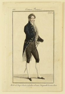 Engraved, hand-colored fashion plate featuring a full-length figure of a man with curly blonde hair, turned towards the right. He carries his black hat underneath his left arm, while his left hand rests on his sword. He wears a blue coat, white cravat with white ruffles underneath, and black breeches. His right arm is positioned across his chest. Appeared as part of the Costume Parisien series in Journal des Dames et des Modes (Journal of Ladies and Fashion), Vingt-deuxième Année (22nd Year), No. 64; Nov. 20, 1818; facing p. 514.