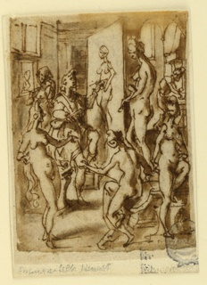 Vertical rectangle. One of the girls stands behind Zeuxis; three are in the foreground. One with extremely long hair talks to the posing girl, so does another. Shown from the back and seated upon a step of the platform. The fifth girl stands at right, het elft foot upon a stool. Pictures hang from the wall of the studio. a man works in an adjoining room on a table beside a fireplace.