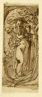 Vertical rectangle. Probably a fragment of a title page. Homer is shown standing, and crowned by a wreath. He carried lyre and sword. Framed by an ovoidal ribbon. Part of a human body visible at right.