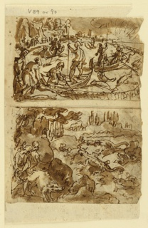 Vertical rectangle. Obverse: Two scenes - top, Fishing. Men in open tuna fishing boats have caught fish in large nets; below, alligator hunt. Pigs used as bait. Hunters at left. Reverse: two scenes, top - fishing, using pelicans; hunters, left behind the bushes, fire at boars, right.