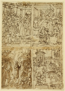 "Vertical rectangle. Obverse: upper left, soldiers beheading a monk. Insciption, lower right: ""multi soldati...""; upper right, death of a monk. Angel at the bedside, other monks in the foreground, right. Lower left: burning of a monk beore a crowd; lower right: interior of a hall with monks seated at a table, dining. Two servants in foreground serving the food. Reverse: Upper left, monks visit ruins of a town; upper right: monks distributing goods; lowe left: monks waiting in procession; lower right: monks visit dying person."