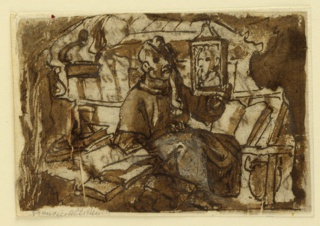 Horizontal rectangle. A monk is seated in his study, surrounded by his books. He looks out toward the spectator. He displays in his left hand a small framed painted panel.