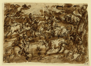 Horizontal rectangle. Obverse: Men on horseback lasso bulls with long poles and ropes. Reverse, upper right: men in armor attacked by bears. Bottom: monkeys washing themselves in basin. In the background, humans washing themselves in a similar way(Plinius, Nat. History, Book VIII, Ch 80).