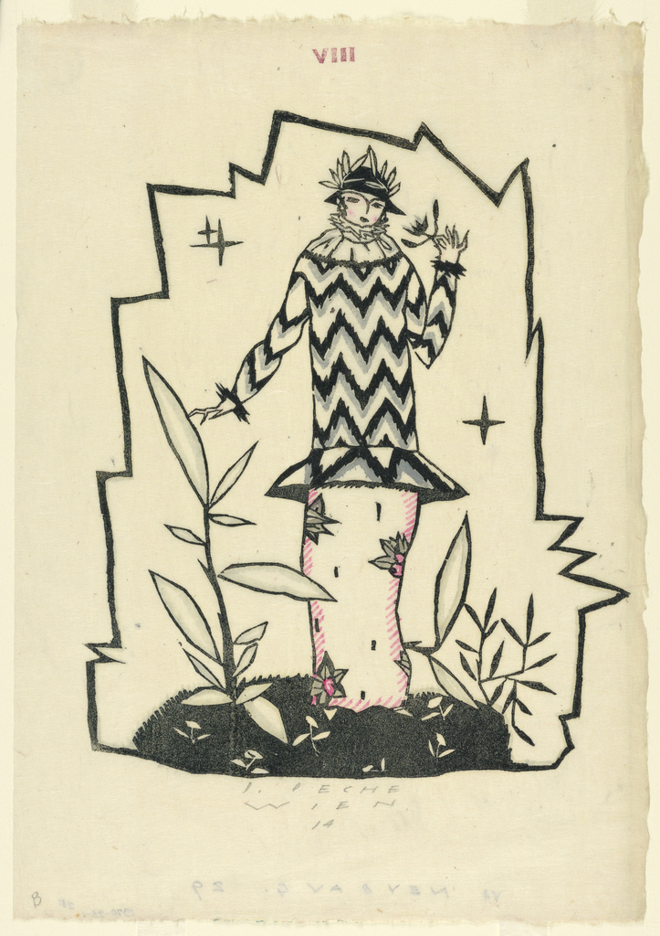 Fashion design depicting a woman wearing a black hat adorned wirh leaves, tunic with black, gray and white zig-zag design, and a long pink flowered skirt. She stands on a patch of grass and flowers and is enclosed in a jagged geometric border.