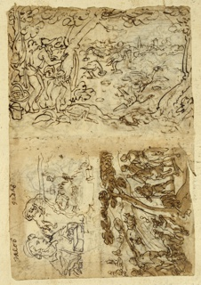 "Vertical rectangle. Obverse, top: Fowlers trapping cuckoos by means of bait placed in cornucopias which are set into the ground. Fowlers are at left, behind a tree. Below, left: bust-length figure, inscribed above ""Jacob""; right, hunters and dogs trapping a small animal in a tree. Recto: horizontally: upper left - Fowlers using birds as bait to trap other birds. Fowlers at left behind trees; lower left: Hunters driving lions into nets, rising flaming torches, right - three bust-length figures from Old Testament."
