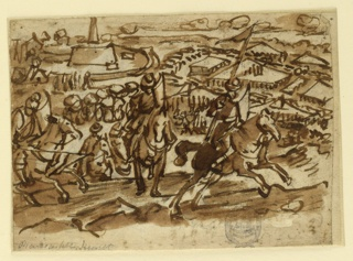 Horizontal rectangle. In the foreground a group of warriors on horseback reach the crest of a hill, and move toward the right. Behind them the panorama of the city and its surroundings.