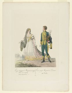 Print, Hungarian Grandee and Lady in Gala Dress, 19th century