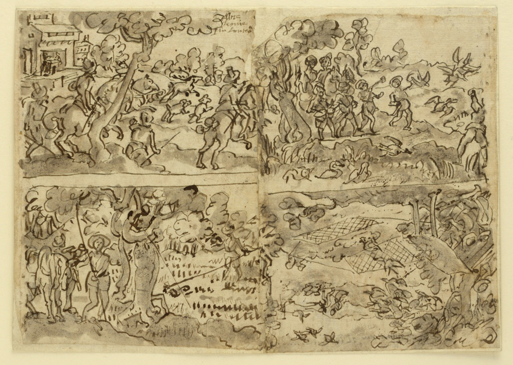 Horizontal rectangle. Obverse: Four hunting scenes, upper left: Hunters on horseback, and on foot, accompanied by hounds, trapping a stag; upper right, lower left, lower right: trapping and hinting larks and ducks. Mounted.