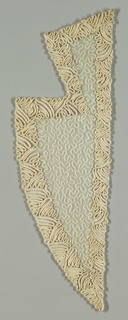 Passementerie for lapels. Sheer ivory gauze ground embroidered to shape in notched lapels with reverse chain stitch in a vermicular pattern, with borders of off-white couched braid soutache.