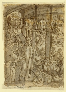 Vertical rectangle. Verso: At right, a circular, arcaded area, in which a number of people are seated. Others are seen in the narrow aisle surrounding the area, sitting and lying about. Christ stands in the foreground, approaching one of the recumbent figures. Recto, top: Horizontal rectangle. A statue, center, with groups of people moving toward it, left and right. Bottom: Vertical rectangle. Open doorway with two figures.