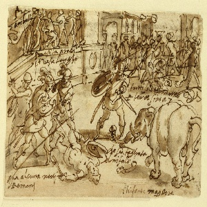 A group of fighting Romans is in the left foreground; three standing see a lying one.  At right is the battle of the elephant with the soldier.  A trunk is roughly outlined below.  In the left background is a box in which Hannibal is seated surrounded by standing persons.  In the right background are fighting soldiers at the beginning of a street.