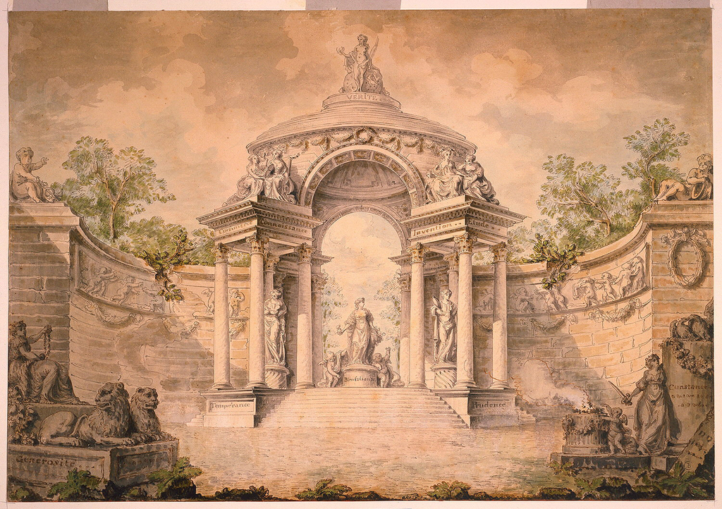 """A rendering of garden architecture.  In groupings, in front of the ends of the exedra are, at left, a seated woman holding jewels (Generosity) with two lions crouching at her feet, placed on a base.  """"Generosite"""" is printed on the base.  At right, a woman with a sword leaning against a shaft of a column (Constancy), upon which a pair of billing doves rests.  """"Constance"""" is printed on the column. On the other side of the woman are a putto and an altar.  There is a decaying tombstone at the right foreground.  In the center, at the middle ground, a pavilion forms the center of the structure.  It is a dome elevated on eight Corinthian columns.  Truth, """"Verite"""" tops the dome.  It is a standing female sculpture.  A group of Charity, """"Bienfaisance"""", stands in the middle, directly below the dome.  In projecting curving wings, between the columns, are the statues of """"Temperance"""", and """"Prudence""""; Inscriptions """"Commerce"""" and """"Knowledge"""", """"Connaissance"""", at left, """"Invention"""" and """"Study"""", """"Etude"""", at right, are placed upon the base and entablature.  Putti with attributes of Mercury crouch upon the ends of the exedra.  A frieze with figures of putti is placed along the top part of the exedra.  Tops of trees are visible behind the exedra."""