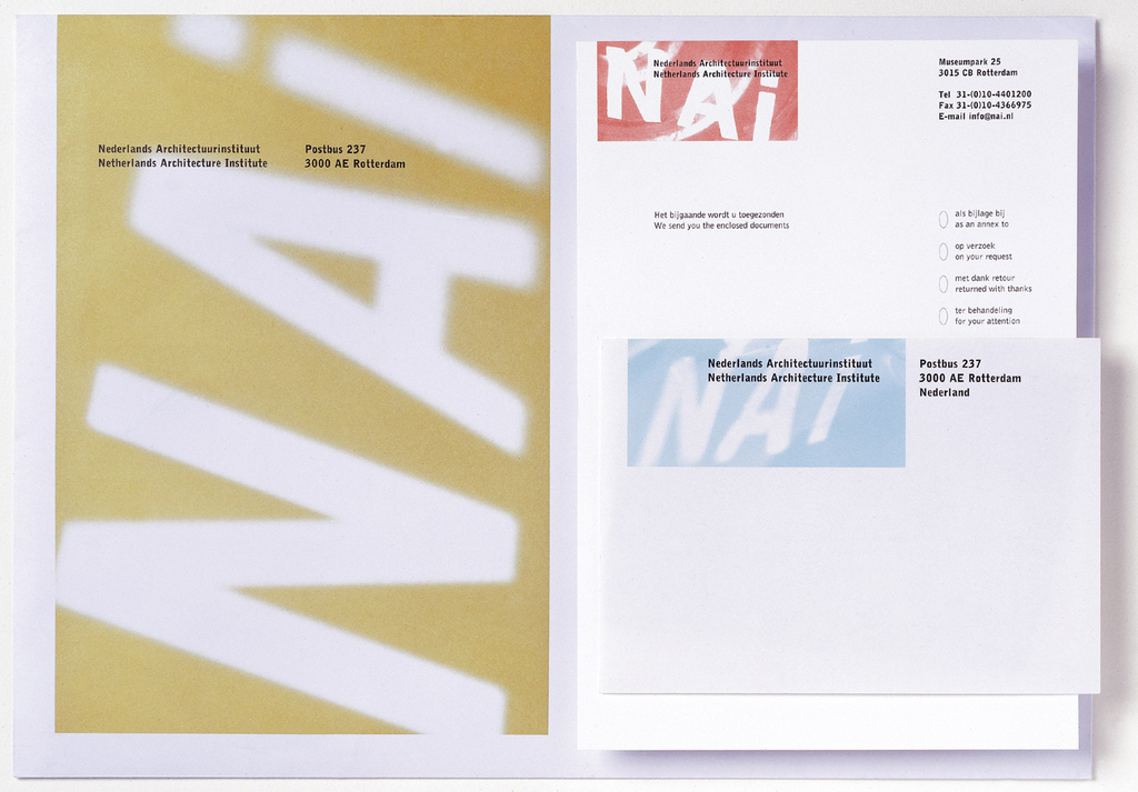 NAI enclosure card:along right border in Dutch and English ( with ovals next to each entry for check mark), checklist to indicate purpose for sending enclosures.  NAI initials (white within red rectangle) at upper left; museum name superimposed (imprinted in black). Address of NAI, etc. inprinted in black, upper right.