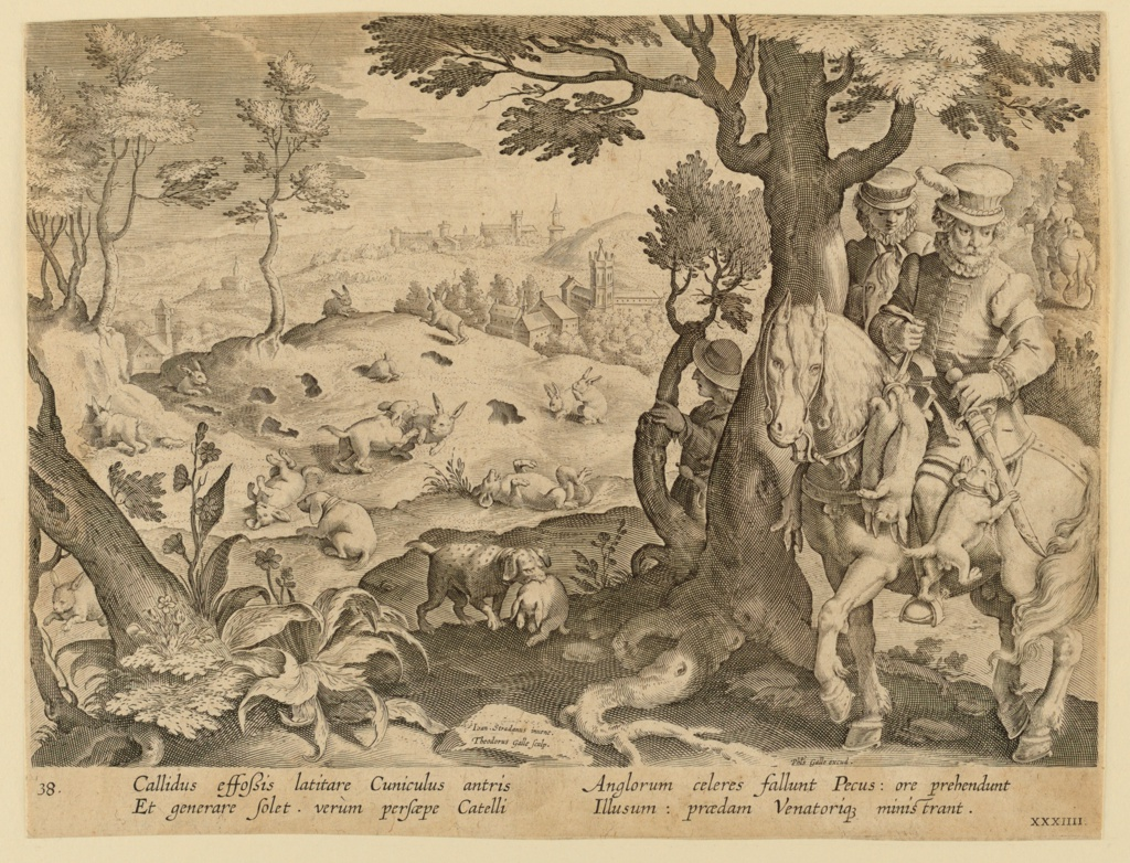 """Horizontal rectangle. The dogs hunt and trap the rabbits, left, brining their kill tot he horsemen behind the tree, at right. On a rock, left center: """"Ioan. Stradanus invent. / Theodorus Galle Sculp."""" At lower right: """"Phls. Galle excud."""" Below: """"CALLIDUS EFFOSSIS LATITARE CUNICLULUS..."""""""