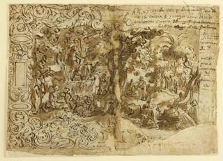 "Horizontal rectangle. Design for a book illustration. Enclosed in an elaborate ornamental border (indicated at left) and divided at the center by a tree - a scene representing Christ preaching. Christ is seen at left, standing on an incline, the people grouped in the foreground. Inscription at upper right: ""ADI 27 DAPRILLE 1587..."" Reverse: Handwriting notations."