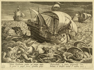 "Horizontal rectangle. Second state. At center, a ship surrounded by sea monsters; on its decks are men and many bells. In the background are two similar ships. In a choppy sea. Near right bottom corner: ""Joan. Stradanus invent. / Joan. Galle. excud."" Bottom margin: ""Nauita Erythraeum panidus qui navigat aequor / In prorae et puppis summo resonantia pendet / Tintinabula: eo sonitu praegrandia late, Balenas et Monstra marina à navibus arcet."" ""6."""