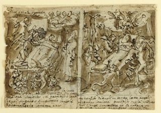 "Horizontal rectangle. Verso, at left side: St. Anthony Hermit, with Tan cross and bell, stands at the right of the bed. Hell is represented in front of the bed. At left are two flying angels and a third person, fragmentary, covering the dying person. The upper one of the angels holds a scroll. Above, at right, the bands of Christ, God the Father, and Mary. The Dove flies before God the Father. Written beside, at left: ""Padre figliolo e maria / spiritu sante."" Written in the low right corner: ""la carte / uno angele in mane."" Caption: ""malata linferno e el paradiso e santi / diaveli fugano e purgatorio langeli / recomandino lanima a dio."" ""2"" is written above, ar right. Seprated by a strip at right. A monk with two crying women kneeling beside him. Devils are at right. Angels to the left of the soul of the dead person. A Cavalry group is shown at left. Caption: ""in transito diavoli in torno delle angeli / recevano lanima paradiso celeste modona / gioà[nni] e sante confessore con la candela in / mano dame piangano crucifisse."" ""4"" is written in the center top. Recto: in opposite direction, at right: An ovoidal bust portrait of a saint is in the center. At left, vertically: a bracket with a fire bowl is in the central motif; it is flanked by dolphins. An alternative suggestion for the bowl is above, at right."
