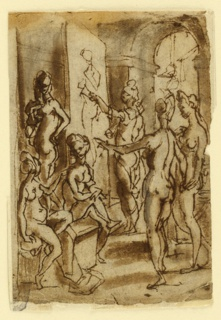 Vertical rectangle. Zeuxis paints with his left hand a back view. The figures of two girls at the corners of the platform. Two more standing at right. They are wearing headgear. Framing line at left.