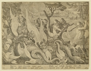 "Horizontal rectangle. A group of serpents is trapped in the underbrush, in the foreground, caught in flames set by men with torches. In the background, an animal is being devoured whole by a serpent. Near left center: ""I. Stradanus inv. / C. de Mallery Sculp. / Phls Galle exc."" Below: ""INGENTEM VEGETO SERPENTEM..."""