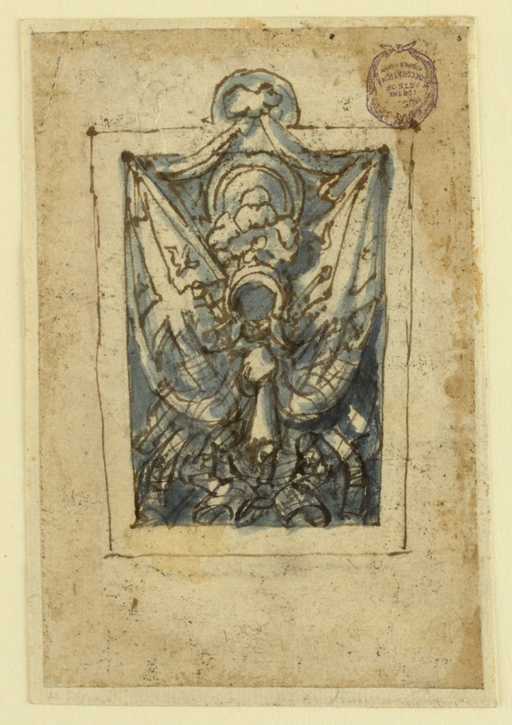 Vertical rectangle. A trophy composed of a helmet and shield in the center, flanked by barriers bearing a design of crosses and birds. A festoon of drapery crowns the composition.