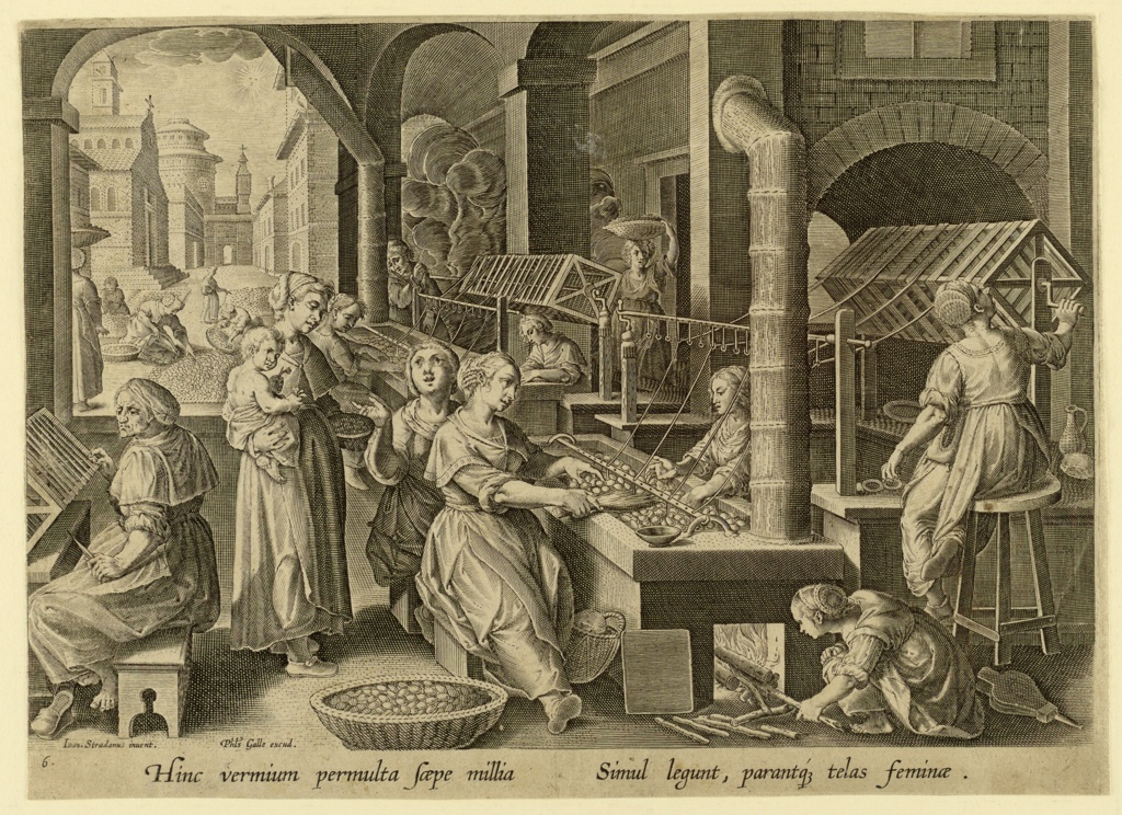 Horizontal rectangle. Several women are seated at long tables on which silkworms cocoons are placed, and are in process of unwinding the cocoons, the thread being wound on long spools.  Woman stands, left, with a child in her arms.  View of street in background, left, with women gathering cocoons (?).