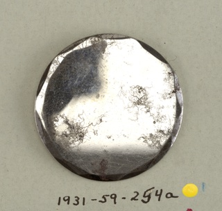 flat circular button with befelled edges; steel shank.  On card 48