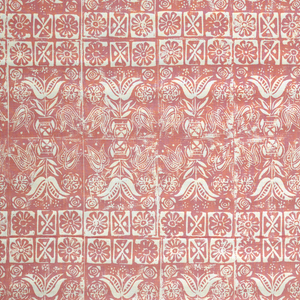 White ground printed with a dense pattern of horizontal rows of dark pink tulips and stylized flower heads.