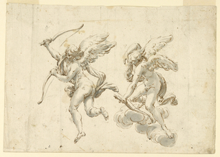 Two cupids, one beside the other. At left, Cupid is flying away with a piece of a broken bow in each hand. At right, standing upon clouds, he is stretching a partially indicated bow.