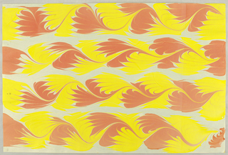 Vertical rectangle. Four vertical undulating strips showing yellow and pale red alternating in feather shapes