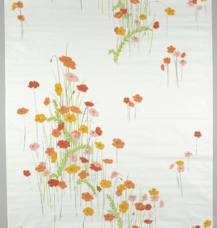 On white ground, large scale asymmetrical design of anemones in clusters and small detached groups.  Leaves and stems in pale and dark green; anemones in orange, red, pink, and yellow.