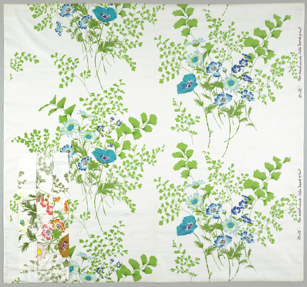 On white ground, large-scale clusters of poppies printed in blues and greens; background of trailing vine and leaf forms printed in pale green and opaque white.