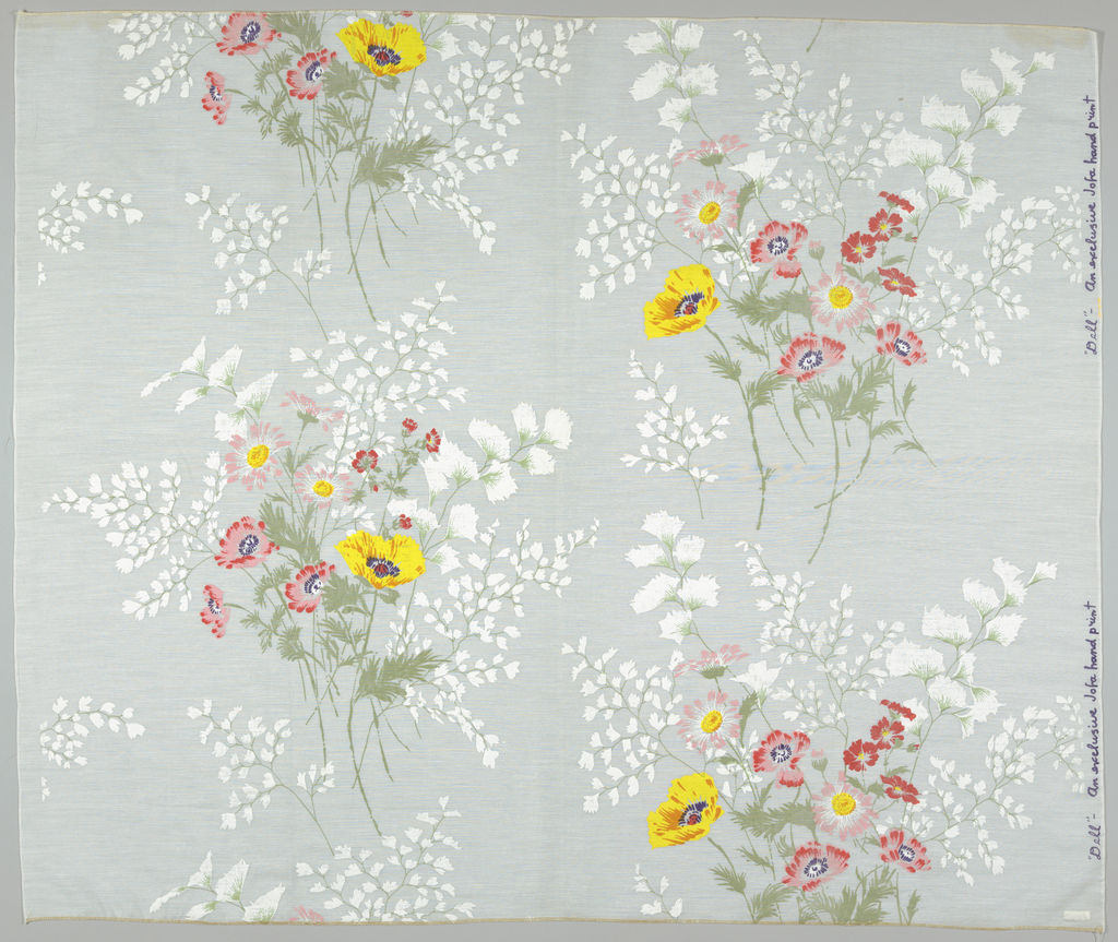 On white ground, large-scale clusters of poppies printed in pink, red, yellow, blue, orange, green and white; background of trailing vine and leaf forms printed in pale green and opaque white.