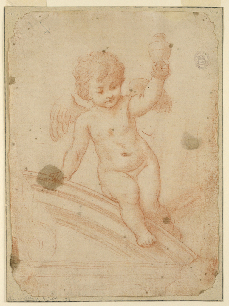 Angel seated on a pediment holding a small vase with one hand