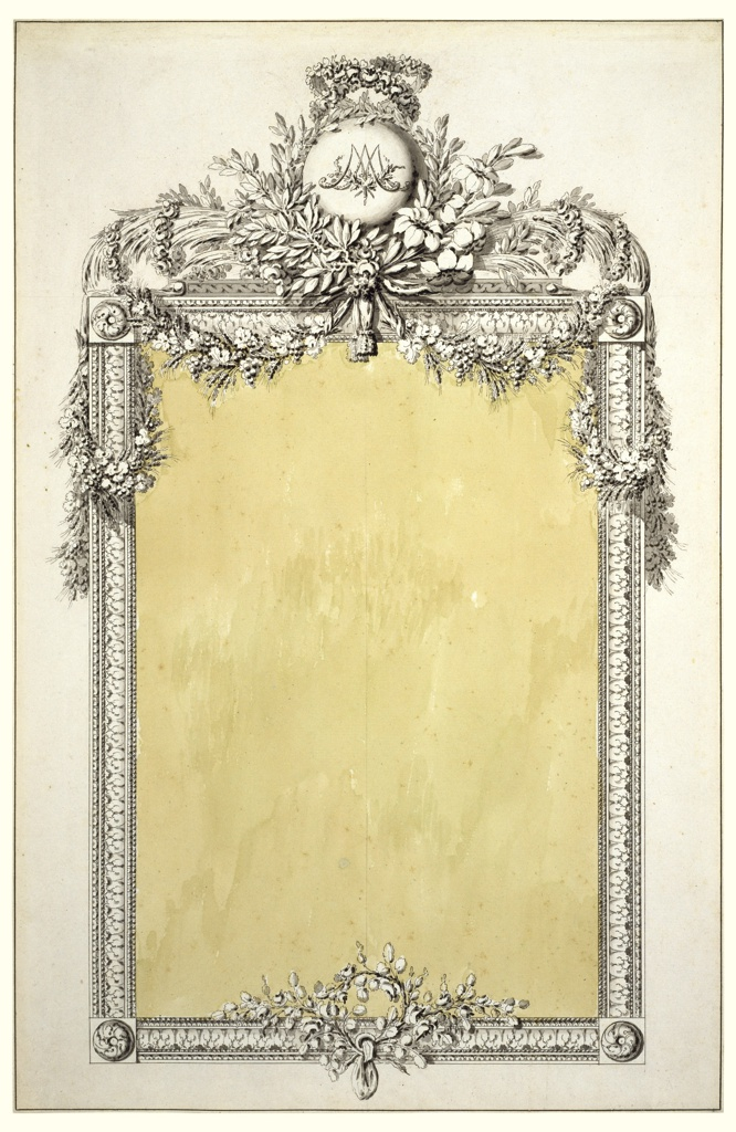 Vertically oriented rectangular mirror framed with moldings intertwined with floral garlands at the top.  The garlands and other floral motifs frame a sphere with Marie Antoinette's monogram. Top center of frame is decorated with two doves, a garland from which is suspended a wreath with two arrows and a tassel. Below, a six-armed chandelier. Frame is decorated with flower vases, candelabra, acanthus leaves and a basket of flowers at bottom center.