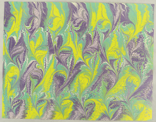 Horizontal rectangle. Undulating swirls of purple with yellow feathered, combed