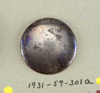 circular, slightly convex buttons, of blued steel - shank.