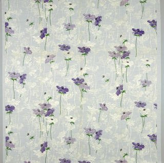 Large purple and lavender anemones with green stems and leaves are scattered against a ground of anemones printed in opaque white.