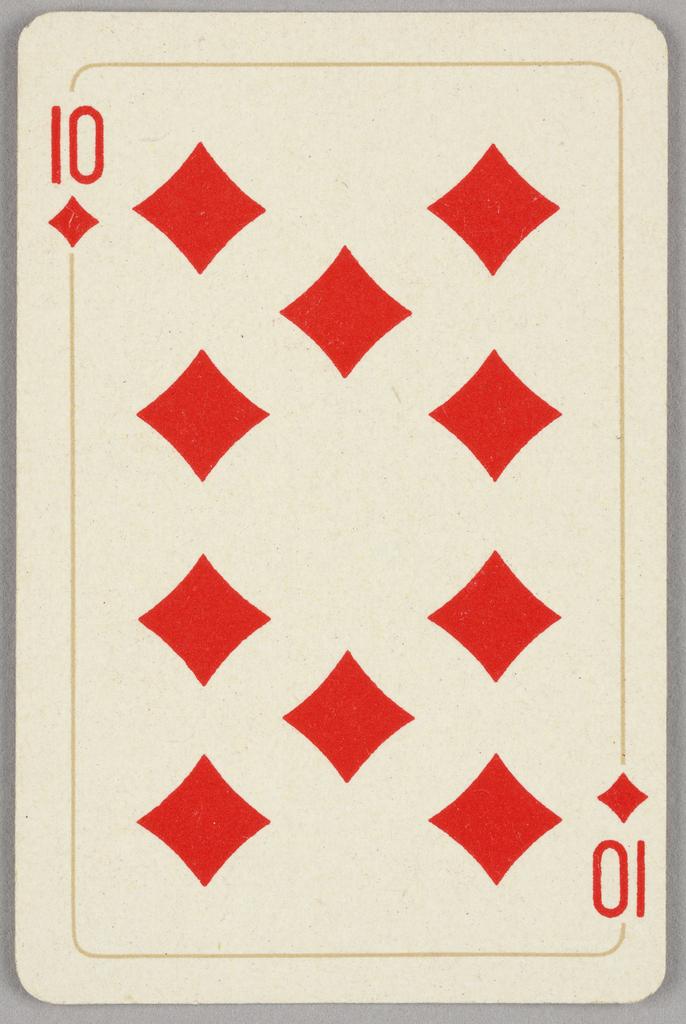 Card, Ten of diamonds, 1944–1945