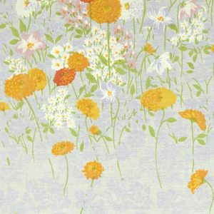 Large scale clusters of growing flowers (zinnias, clematis and others) are printed in oranges, reds, pink,  opaque white and green against a pale violet printed ground.