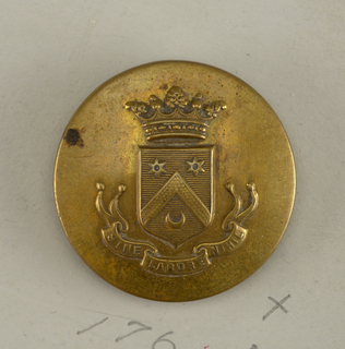 "slightly convex button showing a shield with heraldic devices; above it, a crown; below, ribbon with ""Sine labore nihil."" on reverse: ""Superieur France.""  Brass shank.  On card H"